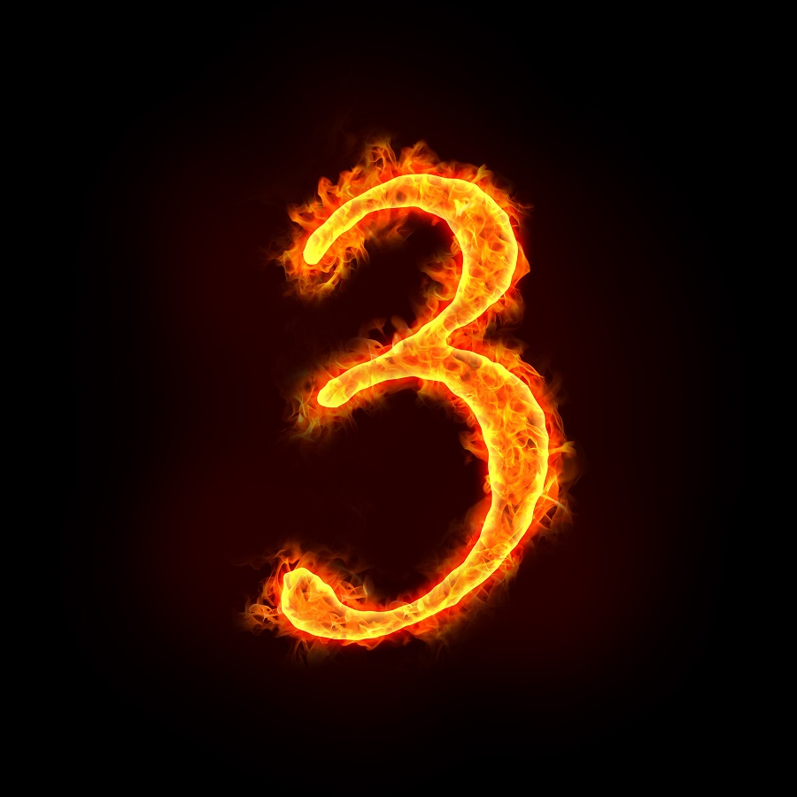 a series of fire numbers in flame 3 or three.
